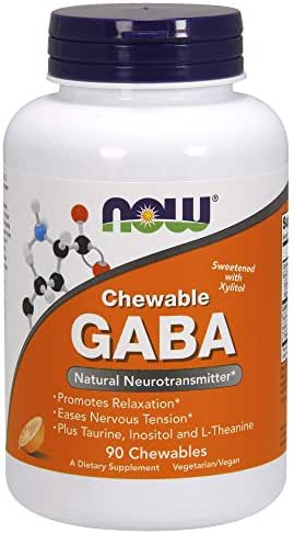 Now Supplements, GABA (Gamma-Aminobutyric Acid), Orange Flavor, 90 Chewables