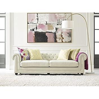 Amazon Com Elle Decor Amery Tufted Sofa Chenille Cream Kitchen