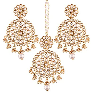 I Jewels Gold Plated Traditional Kundan & Pearl Earring Set