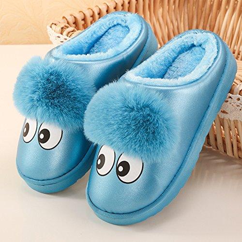 ICEGREY Kinder Mädchen Jungen Warme Hausschuhe Karikatur Netter Kunstpelz Plüsch Hausschuhe Wärmehausschuhe Blau 24