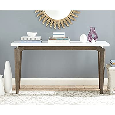 Safavieh Home Collection Josef Mid-Century Modern White and Dark Brown Console - This console table will add a fresh look to any room The white and dark brown finish of this console table will add the perfect accent to your home Crafted of wood - living-room-furniture, living-room, console-tables - 513sA f2CvL. SS400  -