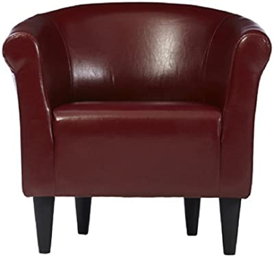 Amazon.com: Simpli Home Austin Faux Leather Accent Tub Chair, Dark ...