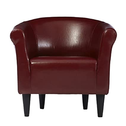 Incroyable Zipcode Design Faux Leather Barrel Chair, Living Room Chair, Merlot