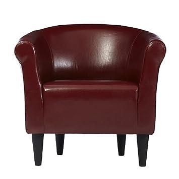 Amazoncom Zipcode Design Faux Leather Barrel Chair Living Room