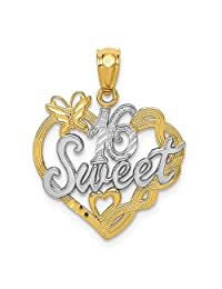 14k Yellow Gold Sweet Sixteen Girl 16 Birthday Pendant Charm Necklace Special Day Fine Jewelry Gifts For Women For Her