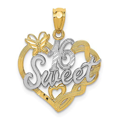 14k Yellow Gold Sweet Sixteen Girl 16 Birthday Pendant Charm Necklace Special Day Fine Jewelry Gifts For Women For Her ()