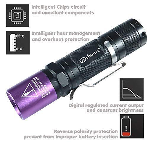 LIGHTFE UV Flashlight 365nm UV Black light UV301D with LG UV LED Source, Black Filter Lens, Max.3000mW high power for UV Glue Curing, Rocks and Mineral Glowing, Pet Urine Detector, AC Leak Detector by LIGHTFE (Image #4)