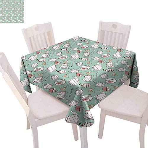 cobeDecor Tea Party Printed Tablecloth Polka Dots on Teapots and Cups Cupcake with Cherry on Top Teabag English Flannel Tablecloth 54