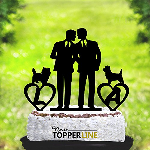 Susie85Electra Gay Wedding Cake Toppers with 2 Dog,Same Sex Wedding Cake Topper,2 Grooms Wedding Cake Toppers Funny by Susie85Electra