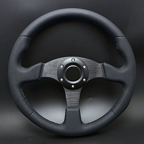 (Wotefusi 350mm Racing Steering Wheel Genuine Leather Flat w/Horn Button Black Stitch)