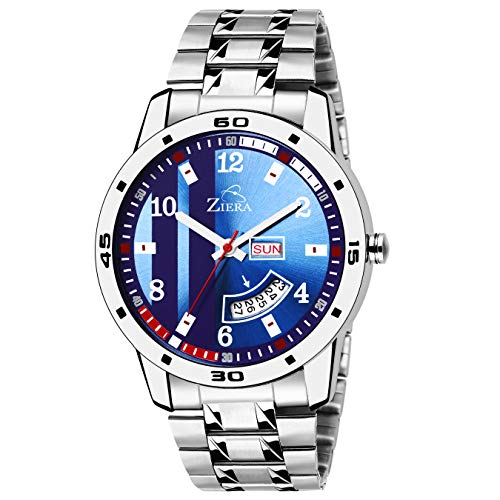 c3873d253 Buy ZIERA Analogue Blue Dial Day and Date Men s Watch Online at Low Prices  in India - Amazon.in