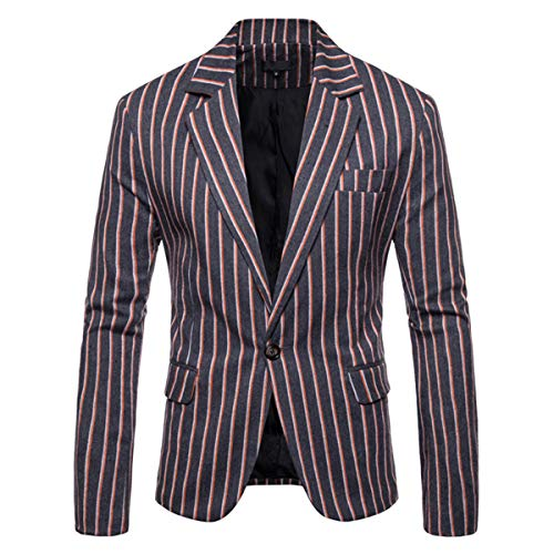 Men's Casual Pinstripe Sport Coat Notch Lapel Classic Fit Printed Blazer Gray