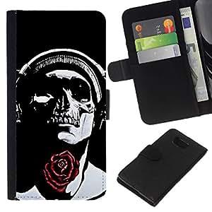 All Phone Most Case / Oferta Especial Cáscara Funda de cuero Monedero Cubierta de proteccion Caso / Wallet Case for Samsung ALPHA G850 // Rose Headphones Black Skull Music