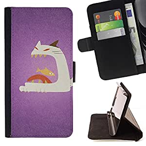 Momo Phone Case / Flip Funda de Cuero Case Cover - Cat Fish Boca grande Arte Pintura; - Apple Iphone 6 PLUS 5.5