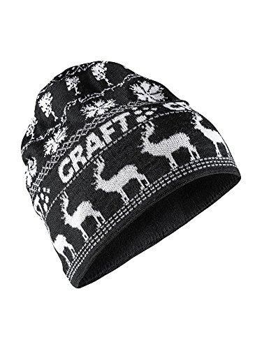 Craft Sportswear Unisex Retro Knit Winter Print Cold Weather Athleisure Beanie Hat Black/White, One Size