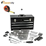 Toucan City Husky Mechanics Tool Set in Metal Box (200-Piece) H200MTSMB and Tape Measure