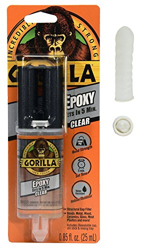 Gorilla Epoxy.85 oz, Clear With 10 Disposable Latex Finger Cots Rubber Fingertips by Baby Galore