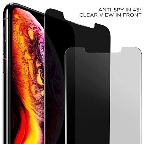 "ANTOGOO CD320WG HD Privacy Screen Protector Compatible with Apple iPhone Xs Max, Updated Version 6.5"", Anti-Spy Tempered Glass Film, 2-Pack, 320 Discs, Black"