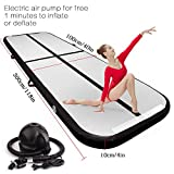 FBSPORT 9.84ft Black Training mat Inflatable Gymnastics airtrack with Electric Air Pump for Practice Gymnastics, Tumbling,Parkour, Home Floor
