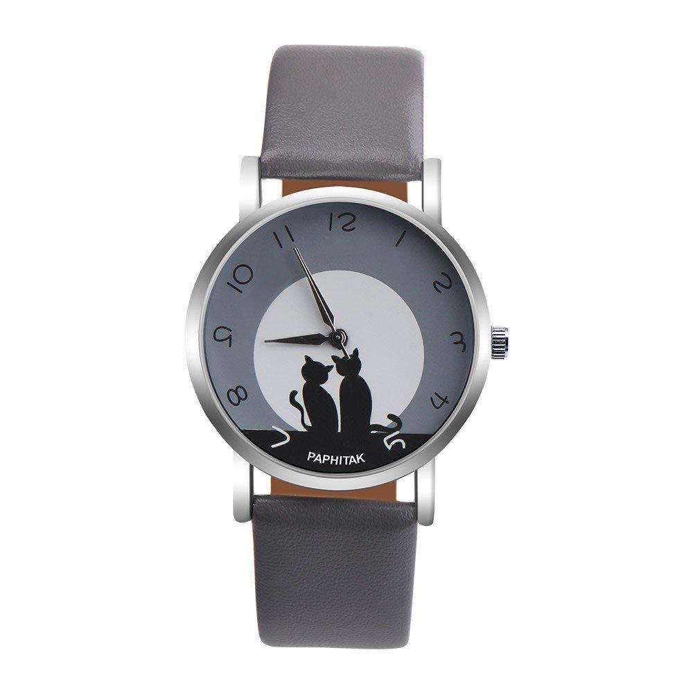 Triskye Women Analog Quartz Watches Cute Luxury Business Casual Cat Faux Leather Strap Band Wrist Watch Ladies Wristwatch Bracelet for Teen Girls