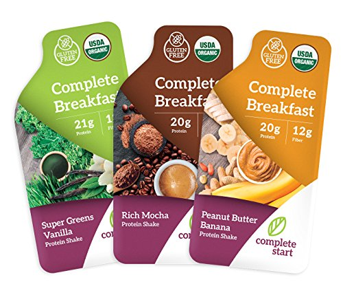Complete Start - Plant Based Meal Replacement, Variety Pack (12 Shakes) - 100% USDA Organic, Vegan Protein - Dairy Free, Gluten Free, Soy Free - 4 of Each Delicious Flavor
