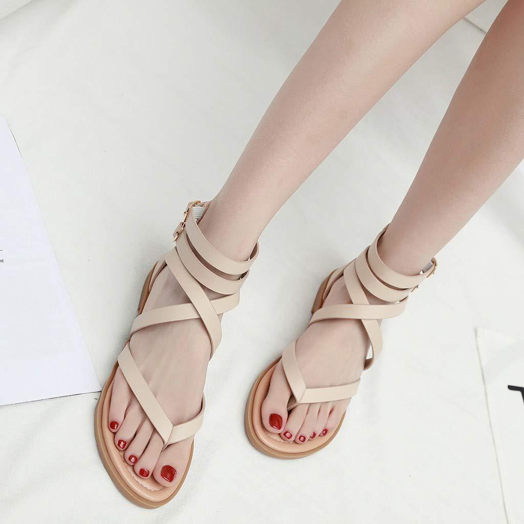 Women Fashion Flip-Flop Sandals Wide Width Shoes Ladies Summer Cross Tie Casual Shoes