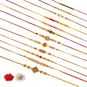 Kaameri Bazaar Rakhi Multicolor Combo of 12 Dora Rakhi Set for Men with Roli Chawal Best Wishes