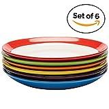 Premium Ceramic Set of 6, Colorful Meal Stoneware (Dinner Plates)