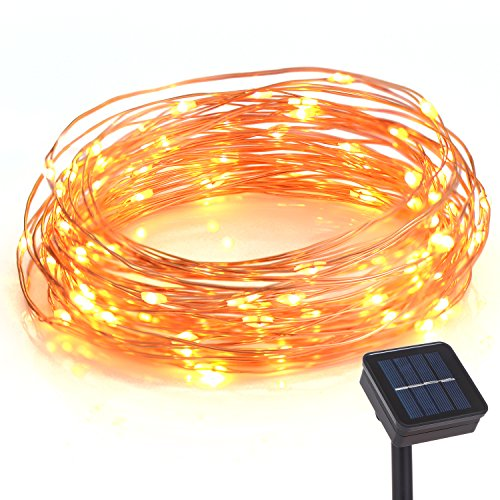 Homaz Solar String Lights, 33ft, 100 LEDs, Waterproof, Copper Wire Fairy Lights