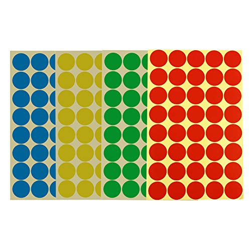 (1152 Pieces 1 Inch/25mm Round Dot Stickers Color Coding Labels Circle Adhesive Stickers 4