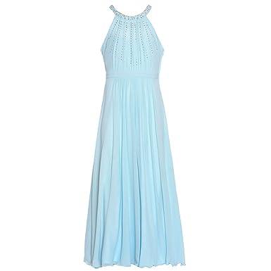 b64d7f7401e Tween Diva Big Girls Blue Studded Accents Yoke Neck Christmas Dress 7