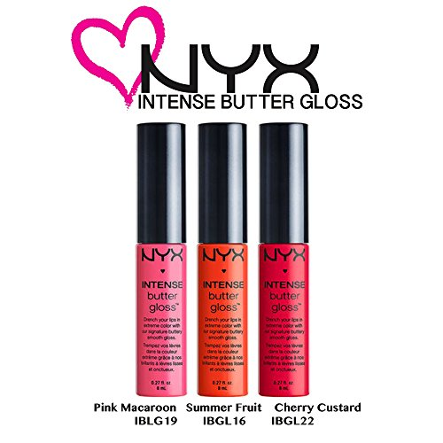 Nyx Fruit (NYX Intesne Butter Gloss 3 pc. Set (Pink Macaroon,Summer Fruit,&Cherry Custard))