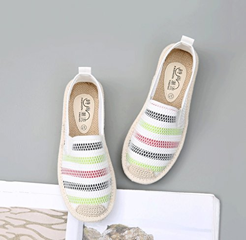 Lace Mesh Schuhe Damen atmungsaktive Segeltuchschuhe im Freienfreizeit weiße Brettschuhart und weise flache Schuhe ( Farbe : Weiß , größe : 36 ) Weiß