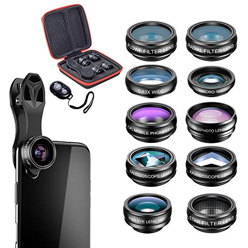 SEGEMS - 10 in 1 Phone Camera Lens Kit-Macro+Wide Angle Lens & Fisheye &Telephoto+CPL/Flow/Radial/Star Filter+Kaleidoscope 3/6+Remote Shutter for iPhone, Samsung,etc. w/A Zipper Case, Travel in Class