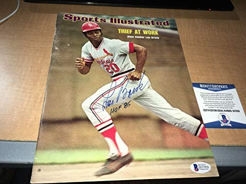 Lou Brock Cardinals Autographed Signed 1974 Sports Illustrated Cover Bas Beckett Certified