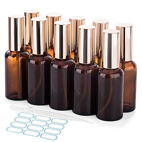 50 Ml Water - Small Glass Spray Bottles 50ml, Empty Glass Bottle Labels for Essential Oils, Amber Glass Spray Bottles 10 Pack