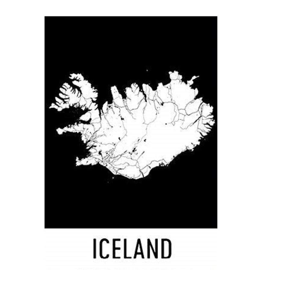 Modern Map Art Cartel de Islandia, Isla lámina, arte de la ...