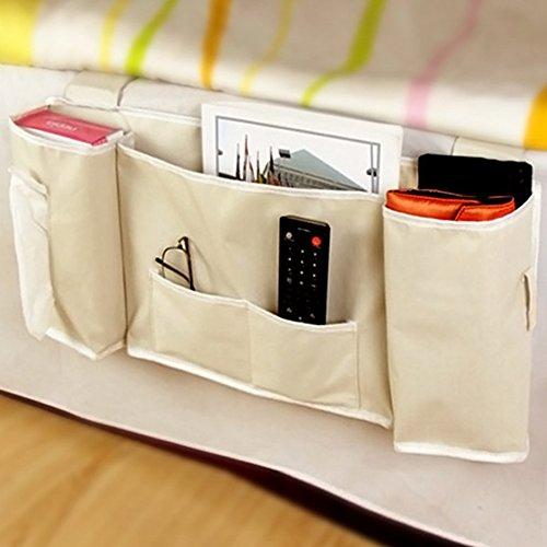 FAVOLOOK Bedside Storage, Bedside Hanging Organizer Bed Storage Pocket with Phone Holder