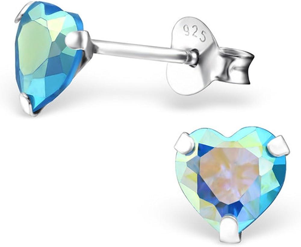 E19033 4mm Tiny Heart Cubic Zirconia CZ Aquamarine Blue Studs Earrings Little Girls Stering Silver 925