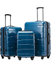 Luggage Expandable 3 Piece Sets PC+ABS Spinner Suitcase 20 inch 24 inch 28 inch (Caribbean Blue new)