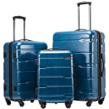 Coolife Luggage 3 Piece Sets PC+ABS Spinner Suitcase 20 inch 24 inch 28 inch (Caribbean Blue)