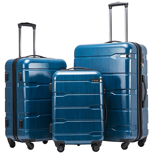 (Coolife Luggage Expandable 3 Piece Sets PC+ABS Spinner Suitcase 20 inch 24 inch 28 inch (Caribbean Blue new))
