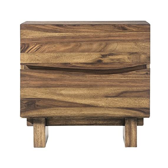 Modus Furniture Ocean Nightstand, Natural Sengon - Inspired by modern California beach-chic Crafted from solid sengon Tekik wood in a vibrant natural Finish Distinctive wave fronts provide the perfect Canvas for hidden drawer pulls - nightstands, bedroom-furniture, bedroom - 513sEMkmGRL. SS570  -