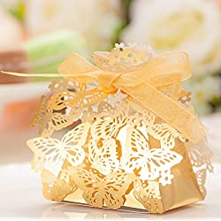 50pcs Party Wedding Favor Candy Box With Ribbon Laser Cut Gold Butterfly Chocolate Gift Boxes Bonbonniere for Birthday Bridal Shower Valentine's Day Christmas Decoration