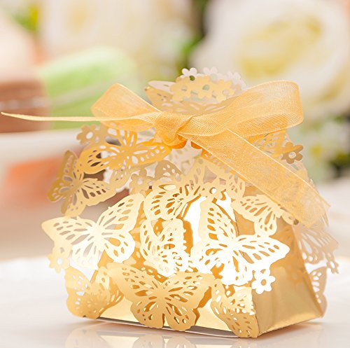 50pcs Party Wedding Favor Candy Box with Ribbon Laser Cut Gold Butterfly Chocolate Gift Boxes Bonbonniere for Birthday Bridal Shower Valentine's Day Christmas Decoration (Best Valentine's Day Chocolate Box)