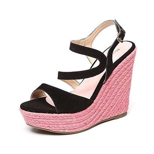 verano plataforma Color Sandalias cuesta la zapatos tejidas E Colorblock de abierto del de Beach 9cm Tamaño del Shoes impermeable ZHIRONG Bohemia dedo 9CM 12CM tacón alto las pie de mujeres 12cm de ETdwWq