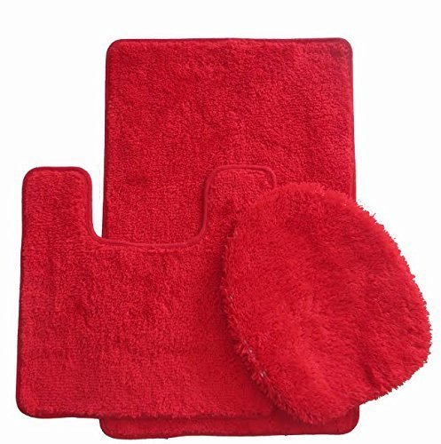 Royal Plush Collection 3-Piece Bathroom Rug Set, Bath Mat, Contour and Toilet Cover (Standard Round Size Toilet) - Red ()
