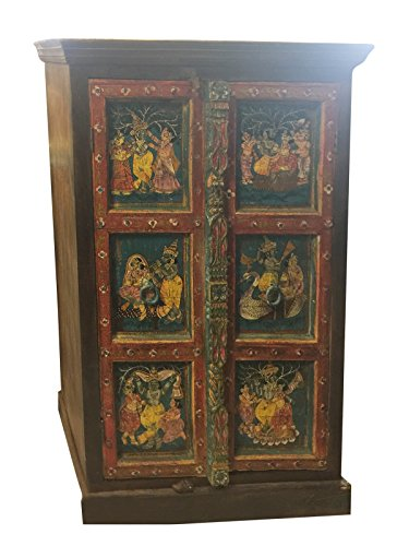 Mogul Antique ARMOIRE Cabinet Chest Krishna Hand Painted Ancient Spirituality Love Interior (Indian Armoire)