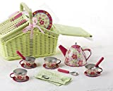 Tin 18pc Tea Set in Basket, Sorrel