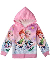 Toddler Zip Hoodie Little Princess Girls Elsa Sweatshirt Children Coat Jacket Outwear